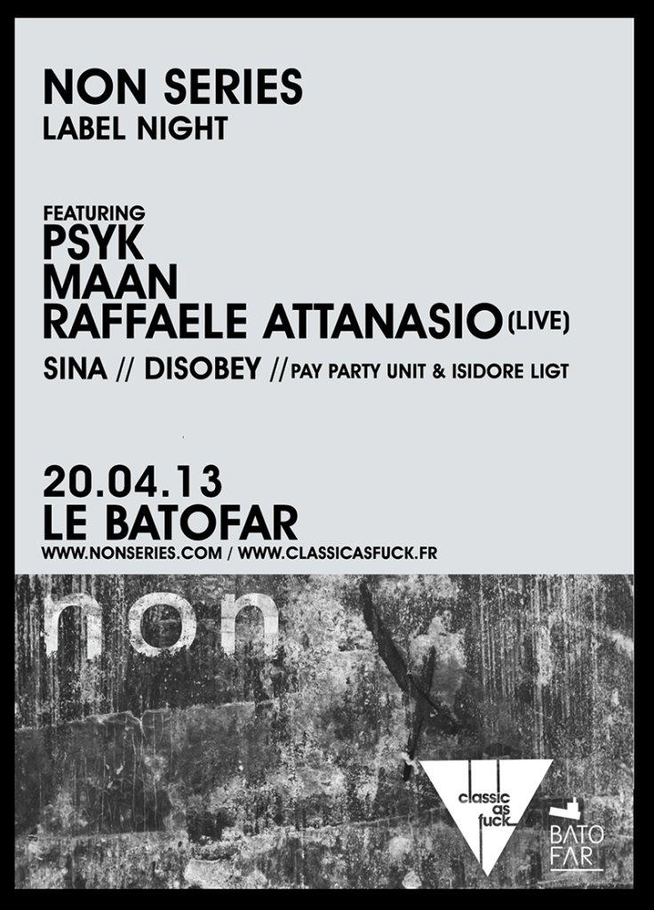 Non Series Label Night with Psyk - Maan - Raffaele Attanasio - Flyer front