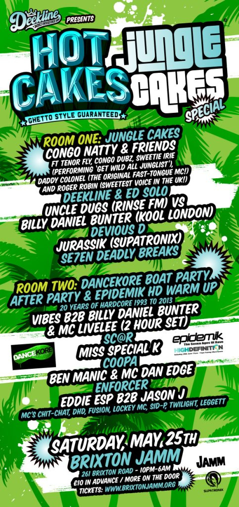 Deekline presents: Hot Cakes (Jungle Cakes Special) - Flyer front