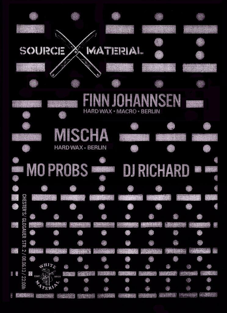 Source Material X Hard Wax - Feat. Finn Johannsen (Hard Wax) & Mischa (Hard Wax) - Flyer front