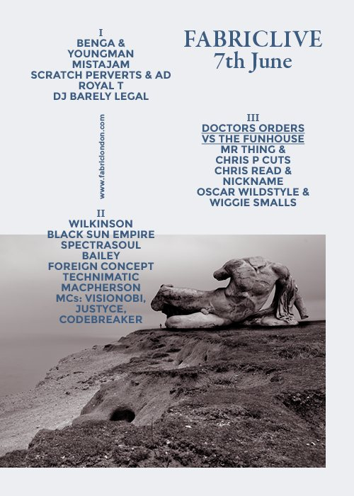 Fabriclive: Benga & Youngman, Scratch Perverts, Royal T, Wilkinson & The Doctors Orders - Flyer front