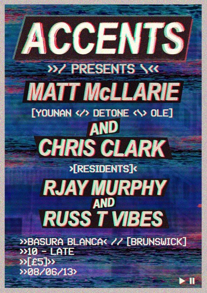 Accents presents Matt Mclarrie & Chris Clark - Flyer front