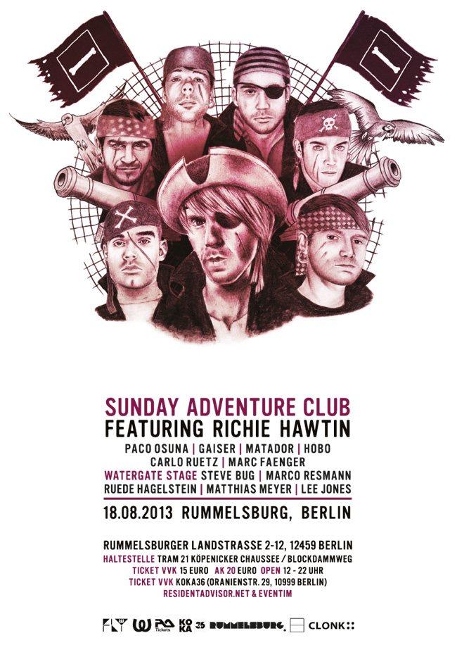Richie Hawtin & Watergate Pres. Sunday Adventure Club - Flyer front