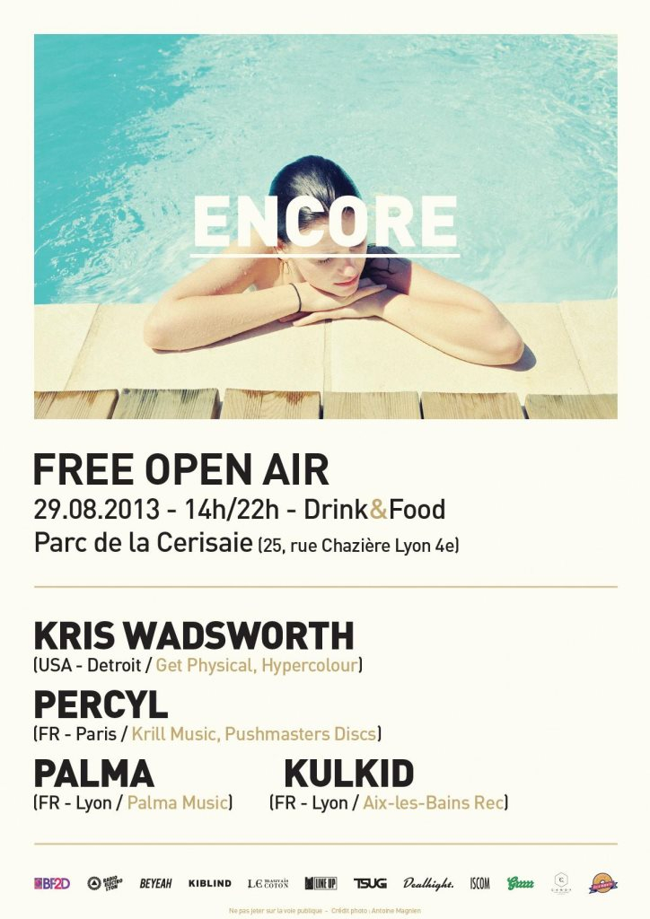 Encore Open Air with Kris Wadsworth, Percyl, Palma, Kulkid - Flyer front