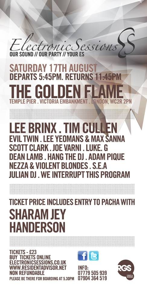 Electronicsessions with Lee Brinx, Tim Cullen - Flyer front