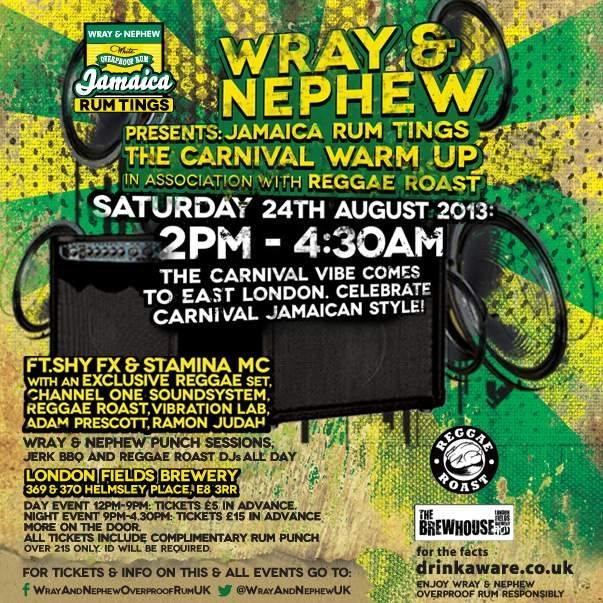Wray & Nephew presents Jamaica RUM Tings in Association with Reggae Roast - Flyer back