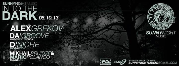 Suuny Night Music presents: Into The Dark - Flyer front