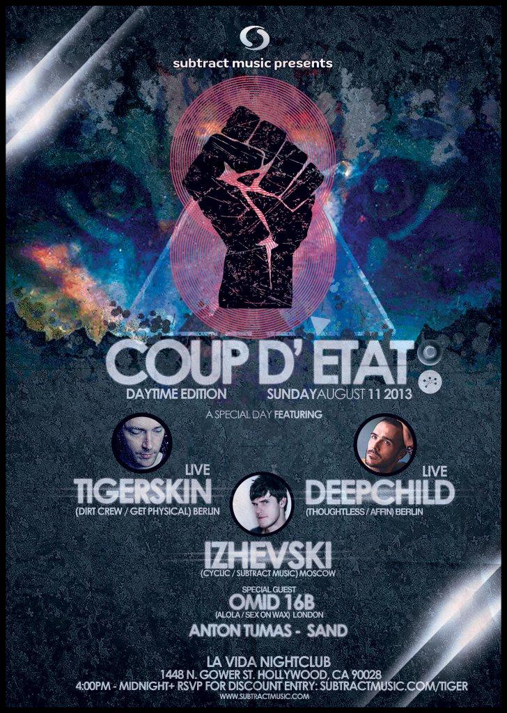 Coup D'état: Tigerskin, Deepchild, Izhevski, Omid 16B, Anton Tumas, Sand - Flyer back