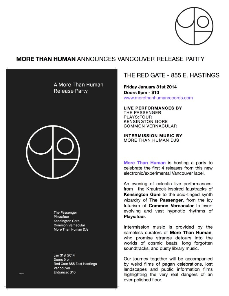 A More Than Human Release Party - Flyer back