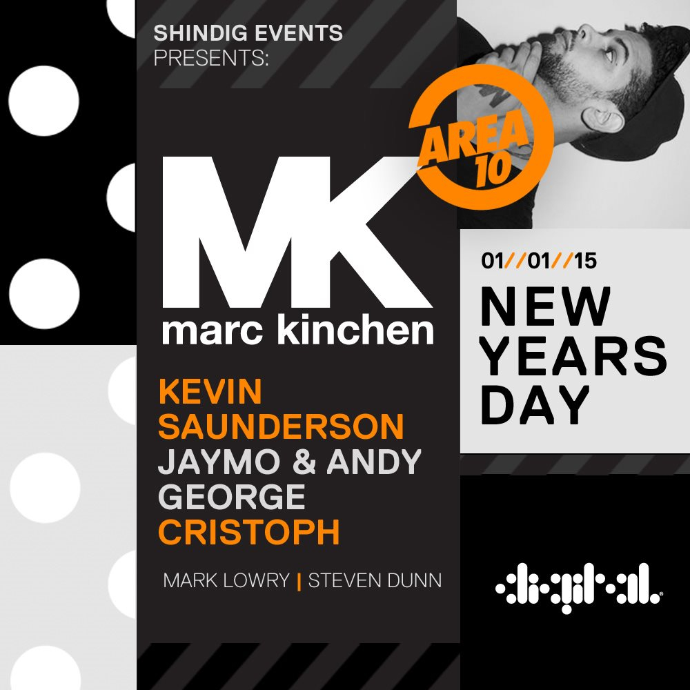 MK presents Area 10 - MK, Kevin Saunderson, Jaymo & Andy George & Cristoph - Flyer front