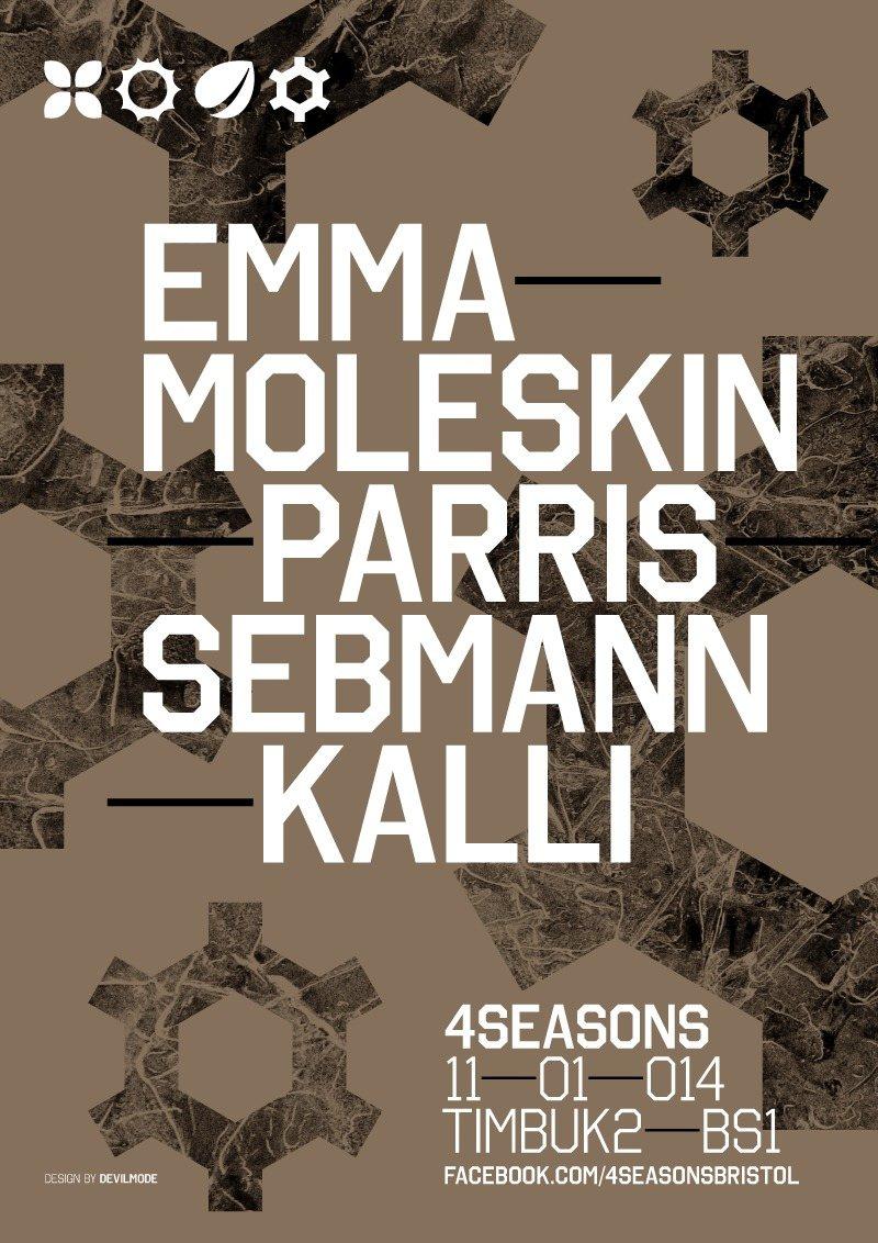 4 Seasons 008: E.m.m.a, Moleskin, Parris, Seb Mann & Kalli - Flyer front