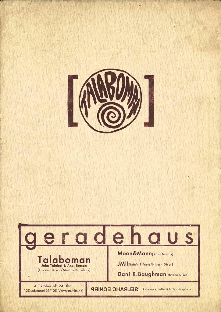 Geradehaus presents Talaboman - Flyer front