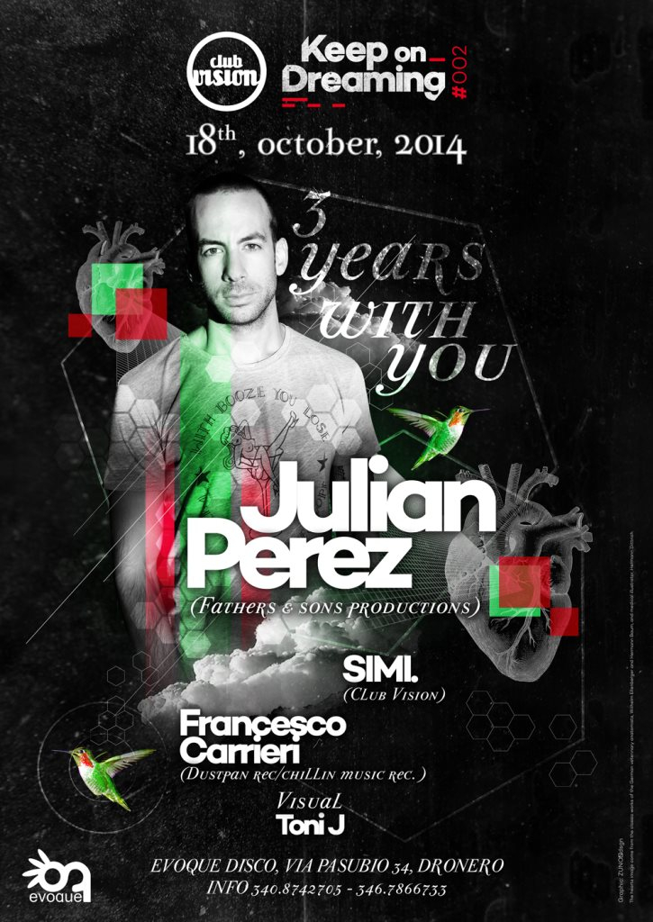 Club Vision '3 Years with You' with Julian Perez - Flyer front