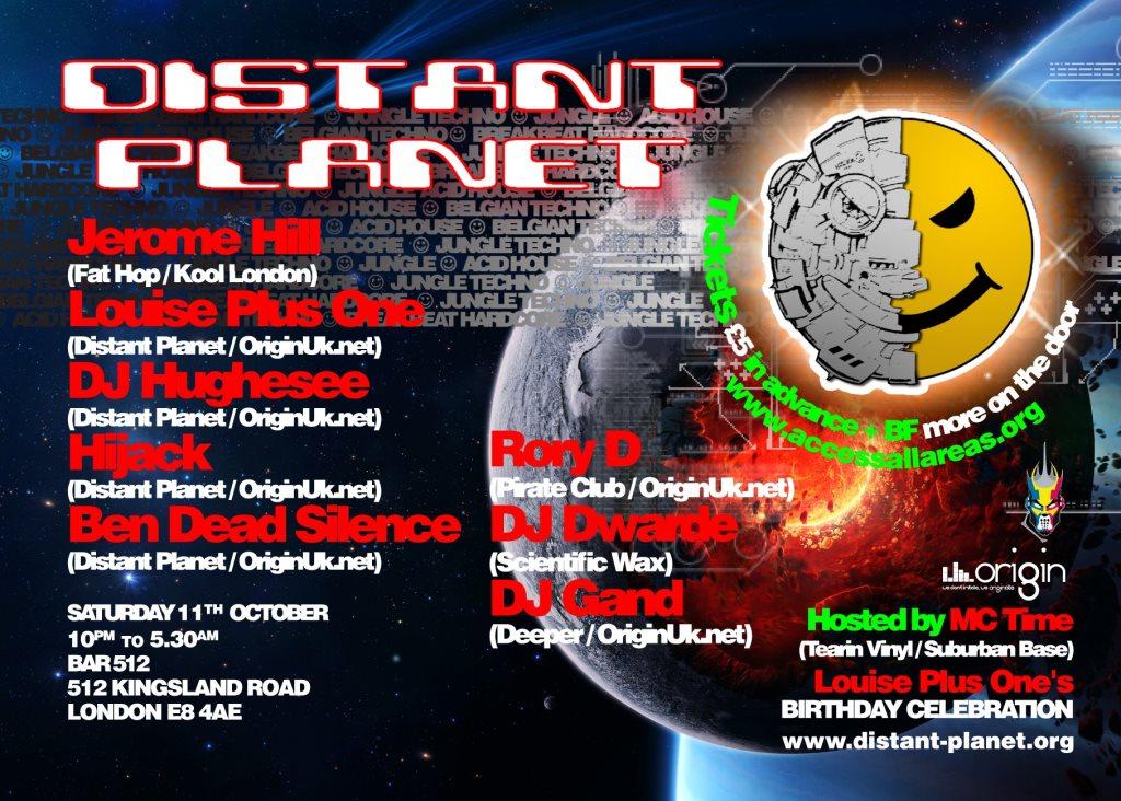 Distant Planet - Acid House, Oldskool Rave and Jungle - Flyer front