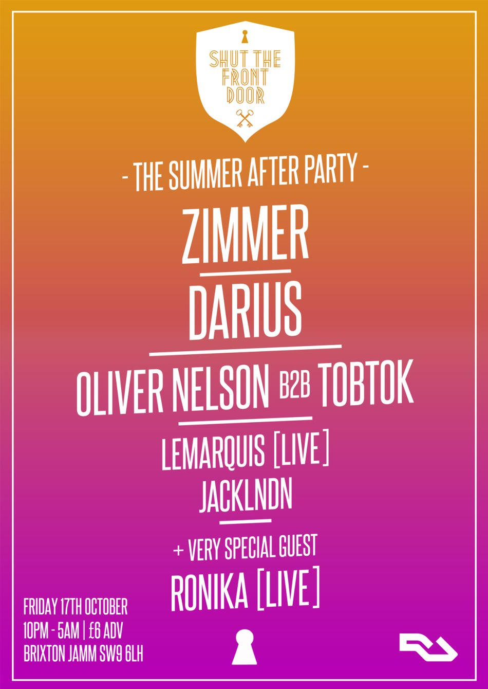 Shut The Front Door: The Summer After Party - Room 2: Waves Takeover - Flyer front