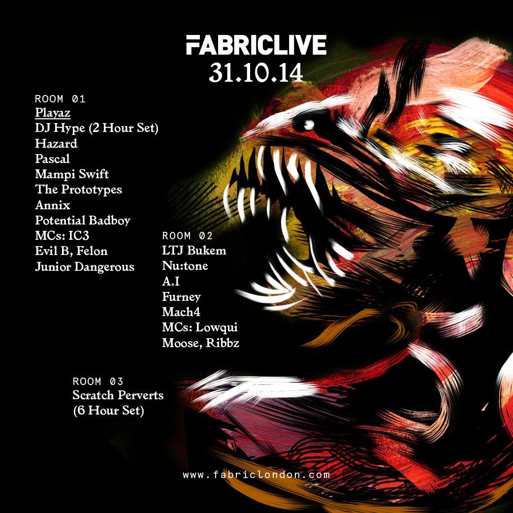 Fabriclive: Playaz, Bukem In Session & Scratch Perverts - Flyer front