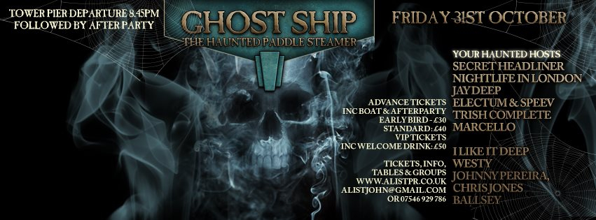 Ghost Ship Halloween - The Haunted Boat - Flyer back