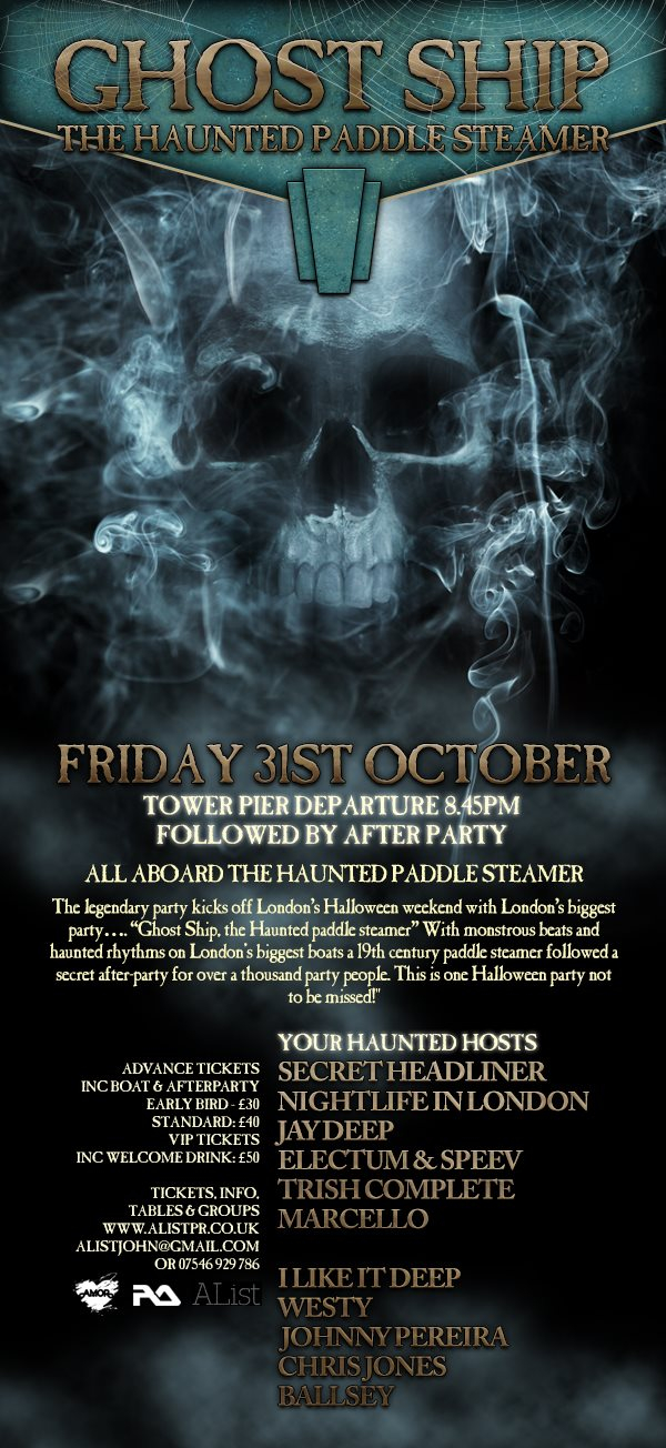 Ghost Ship Halloween - The Haunted Boat - Flyer front