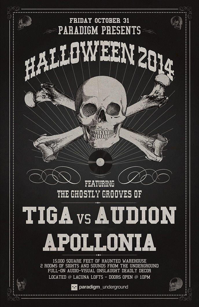 Paradigm presents Halloween 2014: Apollonia - Tiga V. Audion - Flyer front