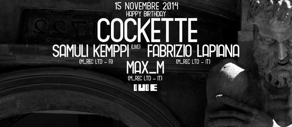 Cockette presenta 'M_rec Ltd Night': Samuli Kemppi Live + Fabrizio Lapiana + Max_m - Flyer front