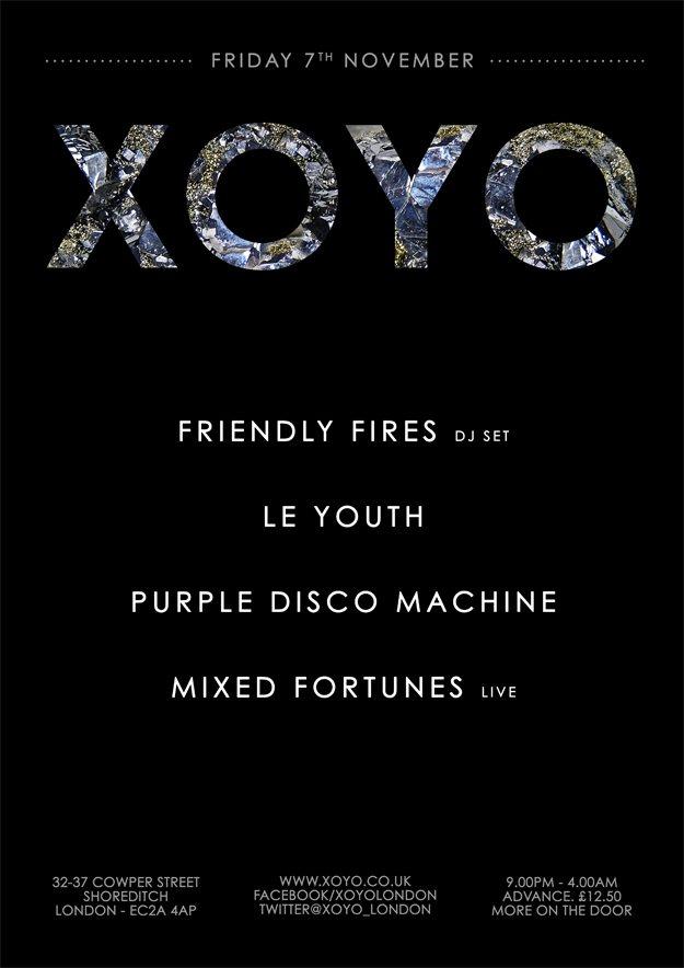 Friendly Fires (DJ set) + Le Youth + Purple Disco Machine + Mixed Fortunes (Live) - Flyer front