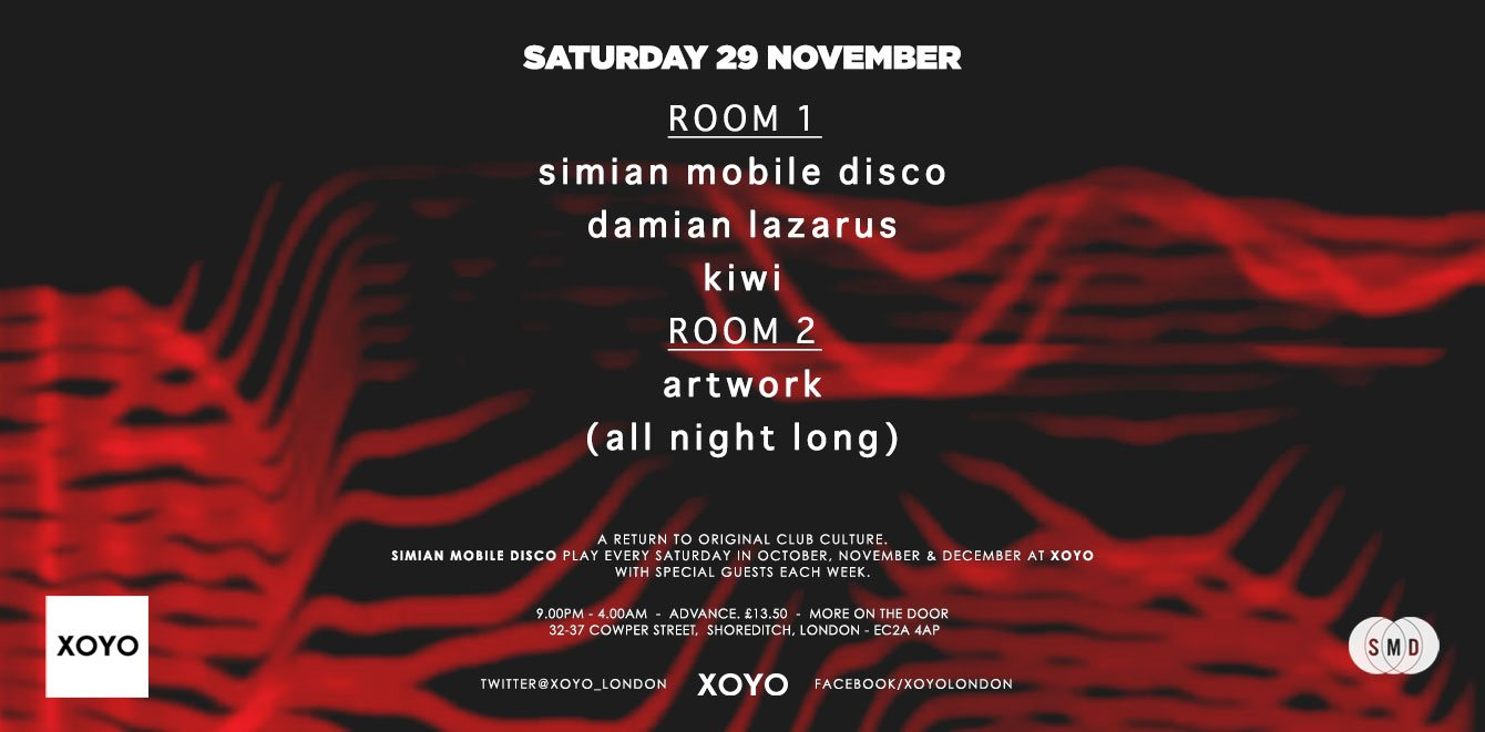 Simian Mobile Disco + Damian Lazarus + Room 2 Artwork All Night Long - Flyer front