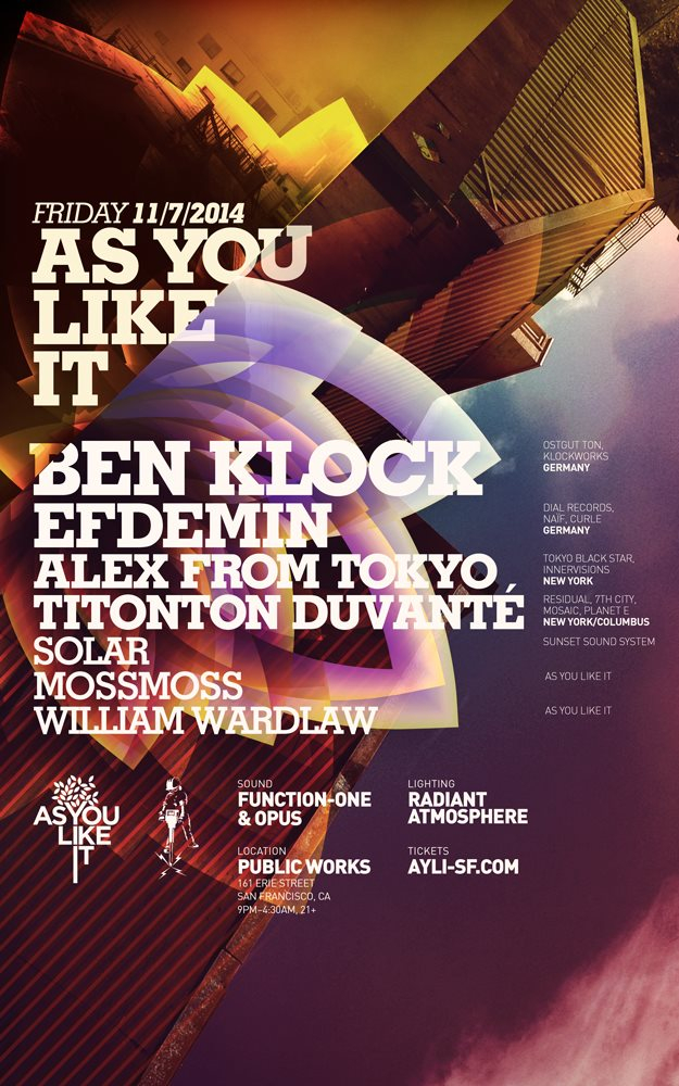 As You Like It with Ben Klock, Efdemin, Alex From Tokyo, Titonton Duvanté and More - Flyer front