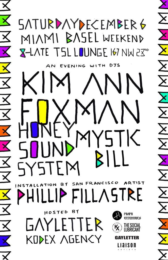 Kim Ann Foxman Honey Soundsystem Mystic Bill on Miami Basel Saturday - Flyer front