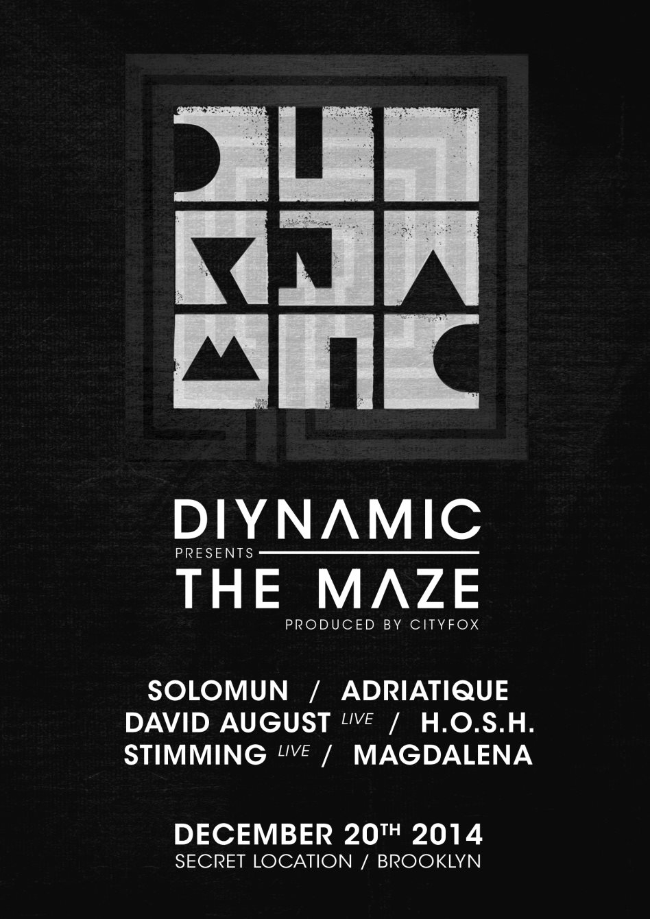 Diynamic presents The Maze, Produced by Cityfox with Solomun, Adriatique, David August and More - Flyer back
