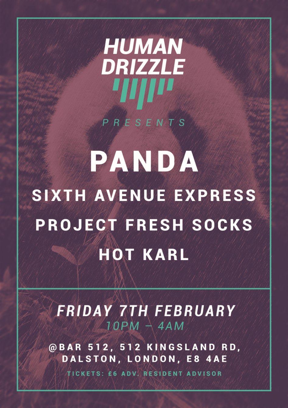 Human Drizzle presents...Panda, Sixth Avenue Express & Project Fresh Socks - Flyer front