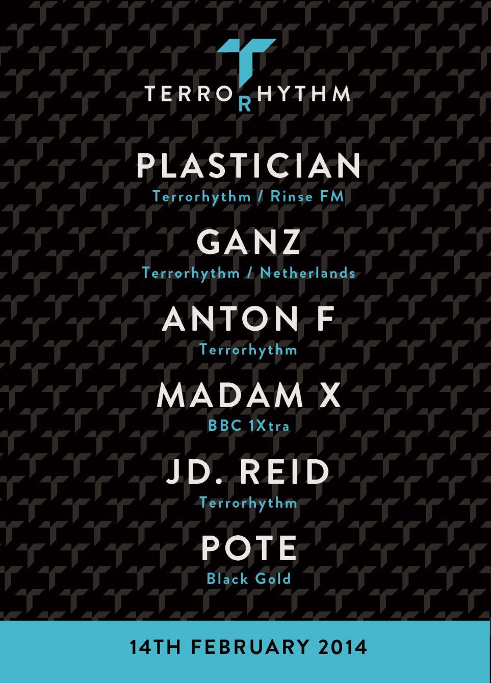 Terrorhythm at Plan B Basement with Plastician, Ganz, Anton F, Madam X, JD. Reid & Pote - Flyer front