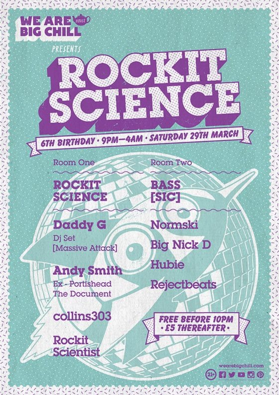 Rockit Science's 6th Birthday ft Daddy G DJ SET, Andy Smith, Normski - Flyer front