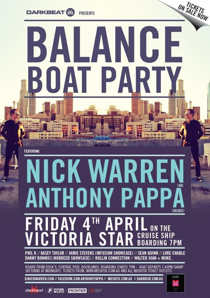 Darkbeat Pres. Balance Boat Party w Nick Warren (UK) & Anthony Pappa (AUS/UK) - Flyer front