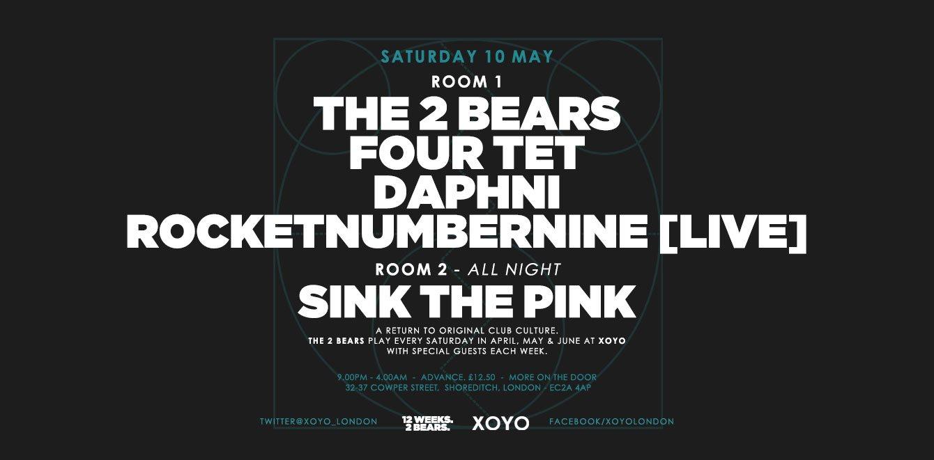 The 2 Bears + Four Tet + Daphni + Rocketnumbernine - Flyer front