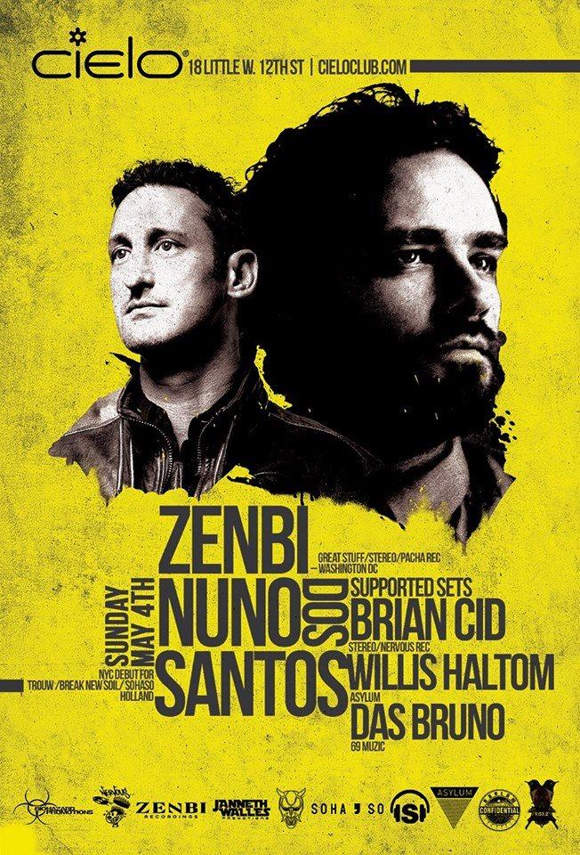 Nuno DOS Santos 'NYC Debut' with Zenbi, Brian Cid & Das Bruno - Flyer back