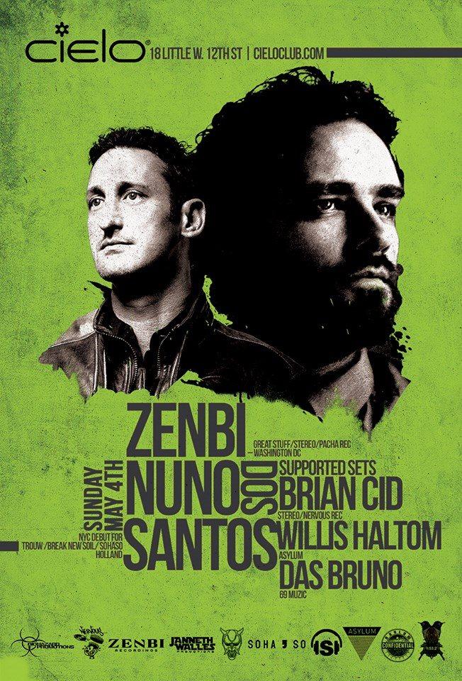 Nuno DOS Santos 'NYC Debut' with Zenbi, Brian Cid & Das Bruno - Flyer front
