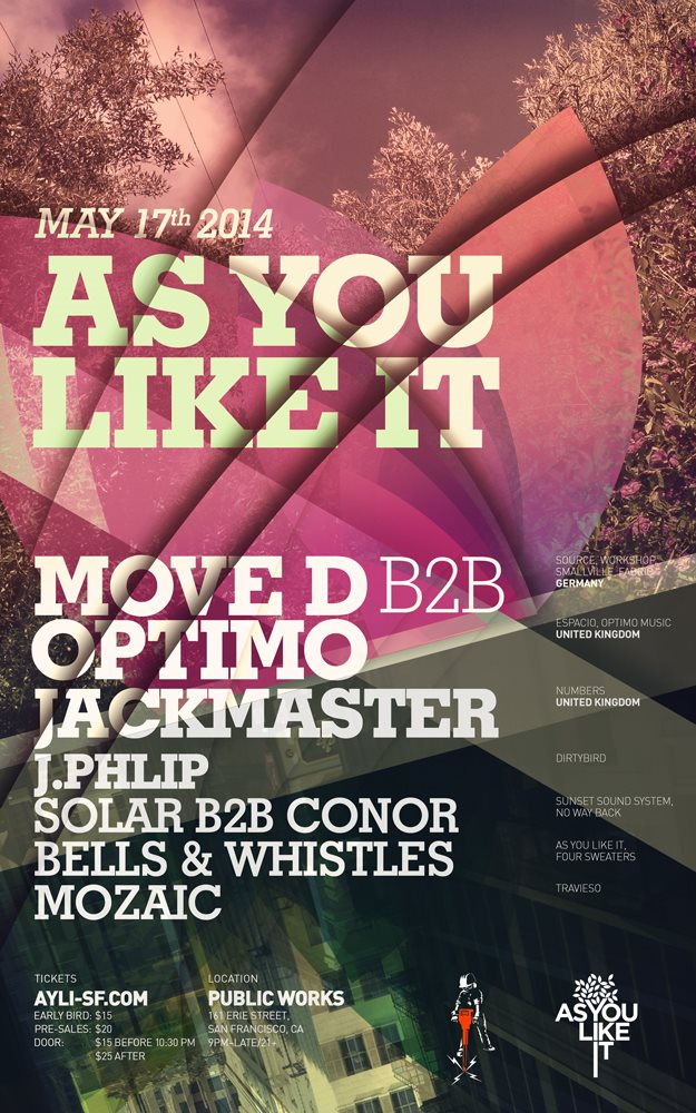 Ayli with Move D B2B Optimo, Jackmaster, J.Phlip and More - Flyer front