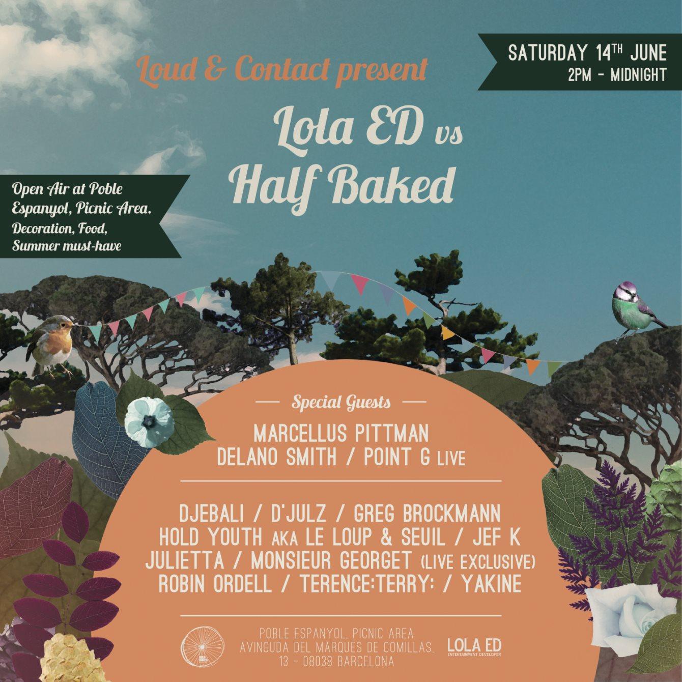 Lola ED vs Half Baked Showcase Open AIR - Flyer front