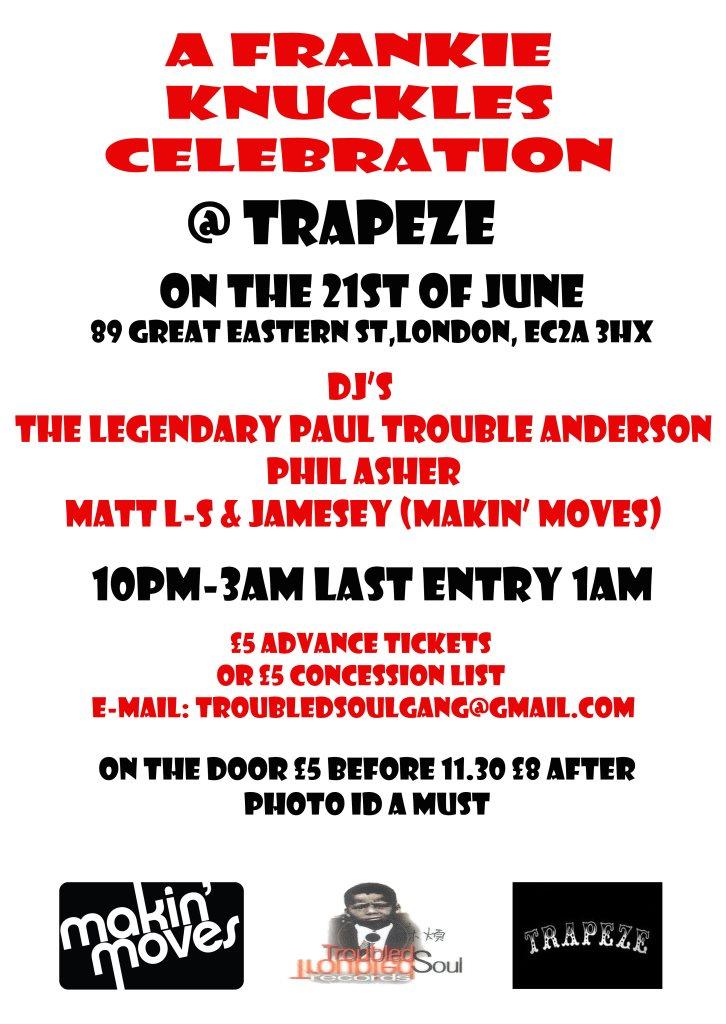 A Frankie Knuckles Celebration - Flyer back