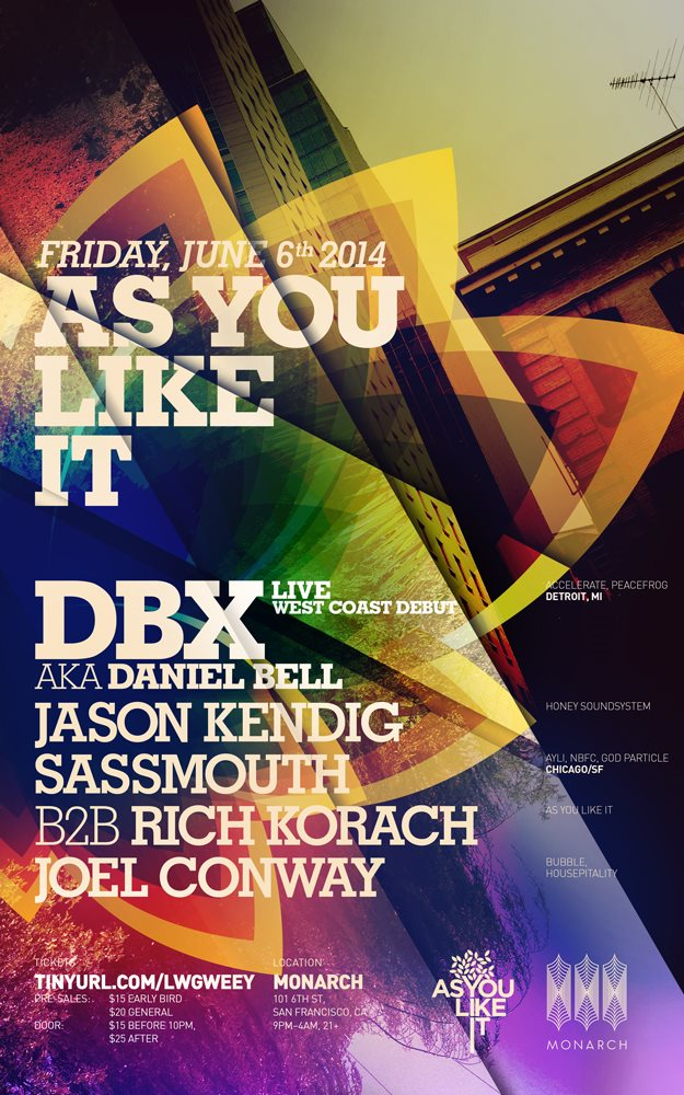 As You Like It with DBX aka Daniel Bell Live - Flyer front