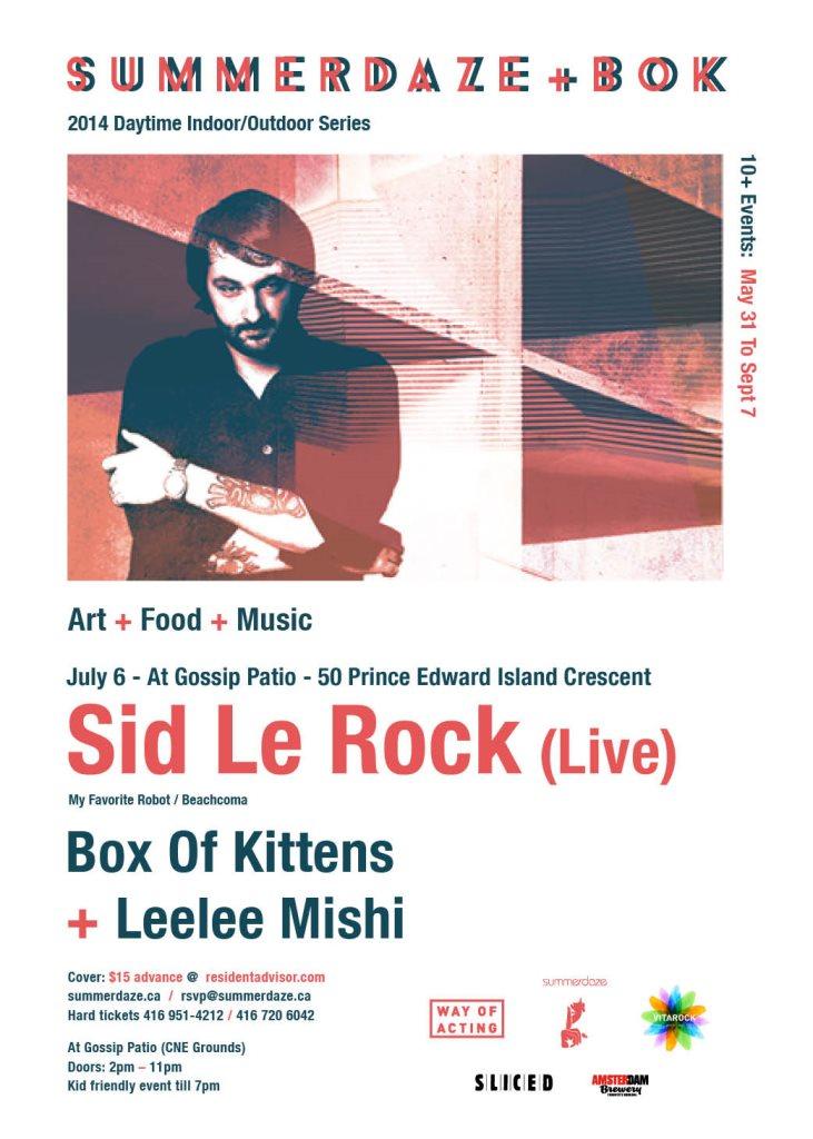Summerdaze & Box Of Kittens present...SID Lerock (Live) - Flyer front