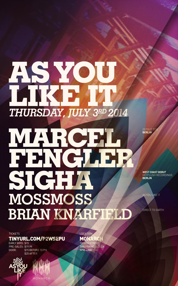 As You Like It with Marcel Fengler & Sigha - Flyer front
