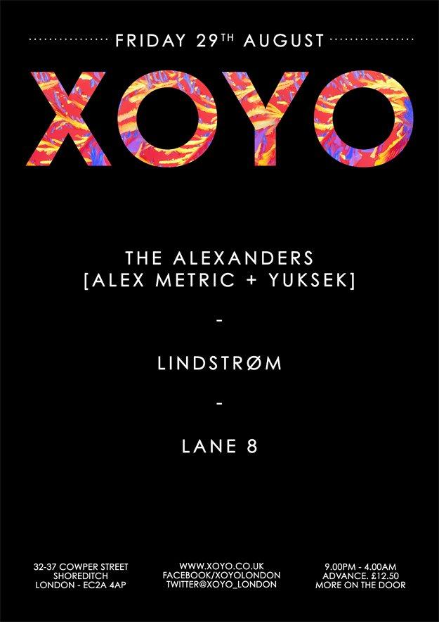The Alexanders (Alex Metric + Yuksek) + Lindstrom + Lane 8 - Flyer front