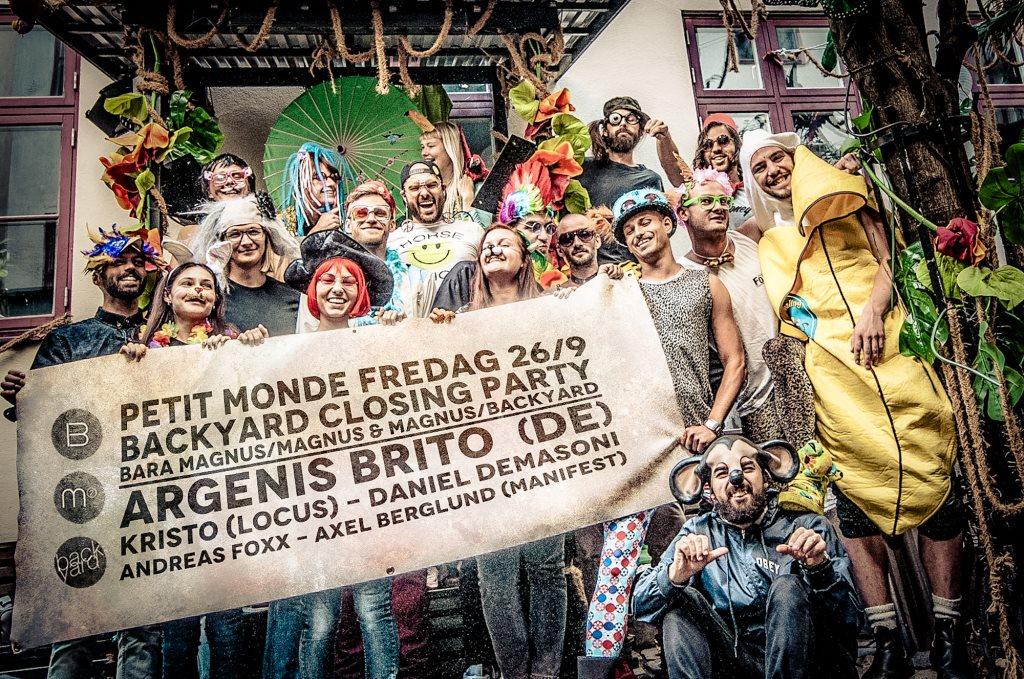 Petit Monde Backyard Closing Party: Argenis Brito, Kristo, Daniel Demasoni, Axel Berglund - Flyer front