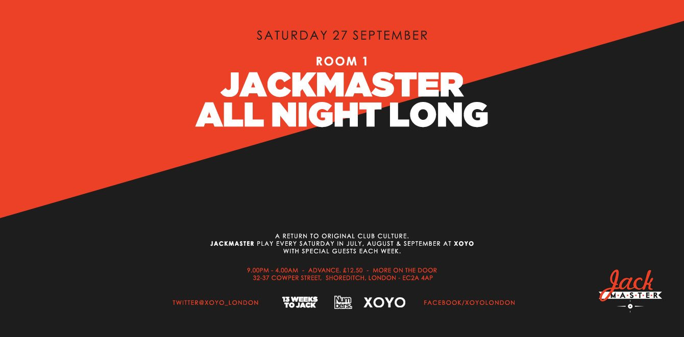 Jackmaster Residency Closing Party - Flyer front