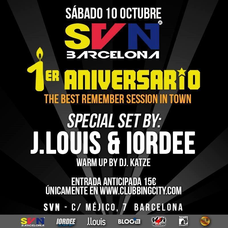 1er Aniversario SVN Barcelona con J.Louis & Iordee - Flyer front