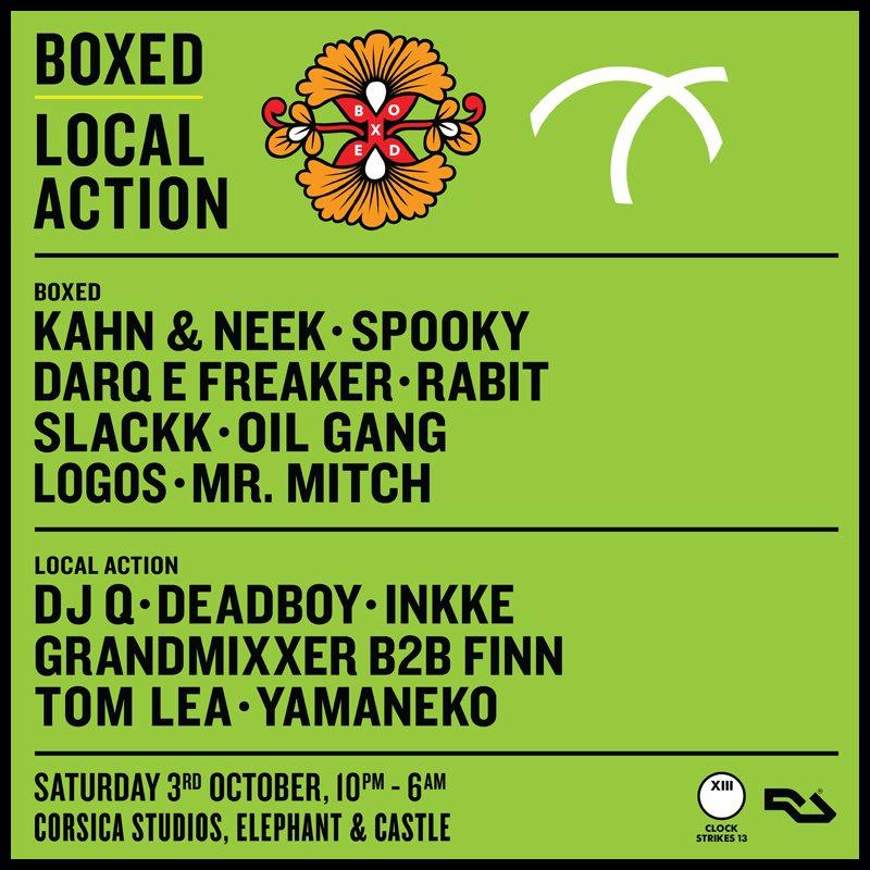 Cs13: Boxed x Local Action with Kahn & Neek, DJ Q, Darq E Freaker, Deadboy, Rabit… - Flyer front
