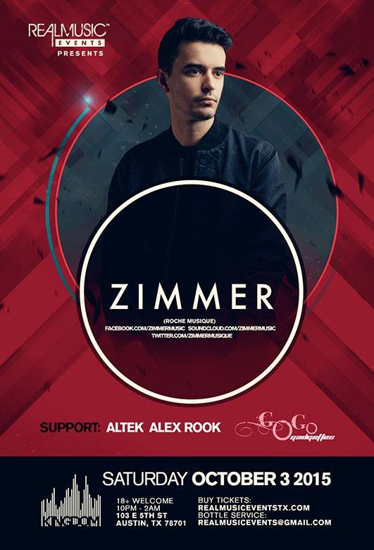 Realmusic Events presents Zimmer - Flyer front