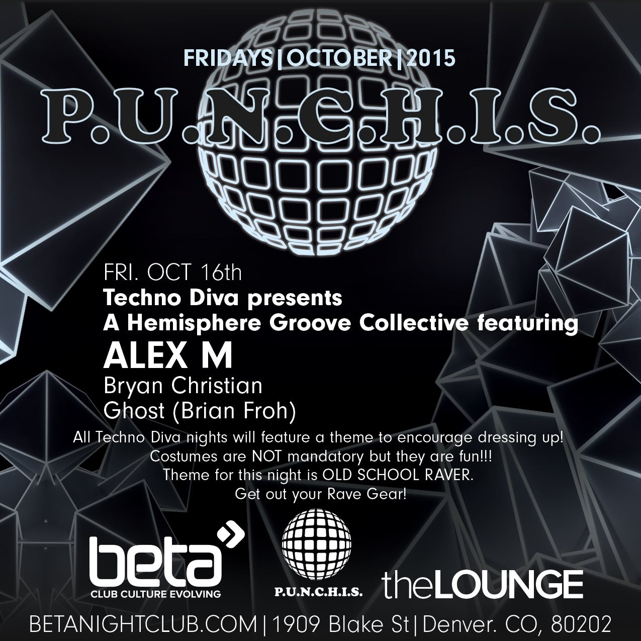 Techno Diva presents Hemisphere Groove Collective Feat. Alex M, Bryan Christian, (Ghost) - Flyer front