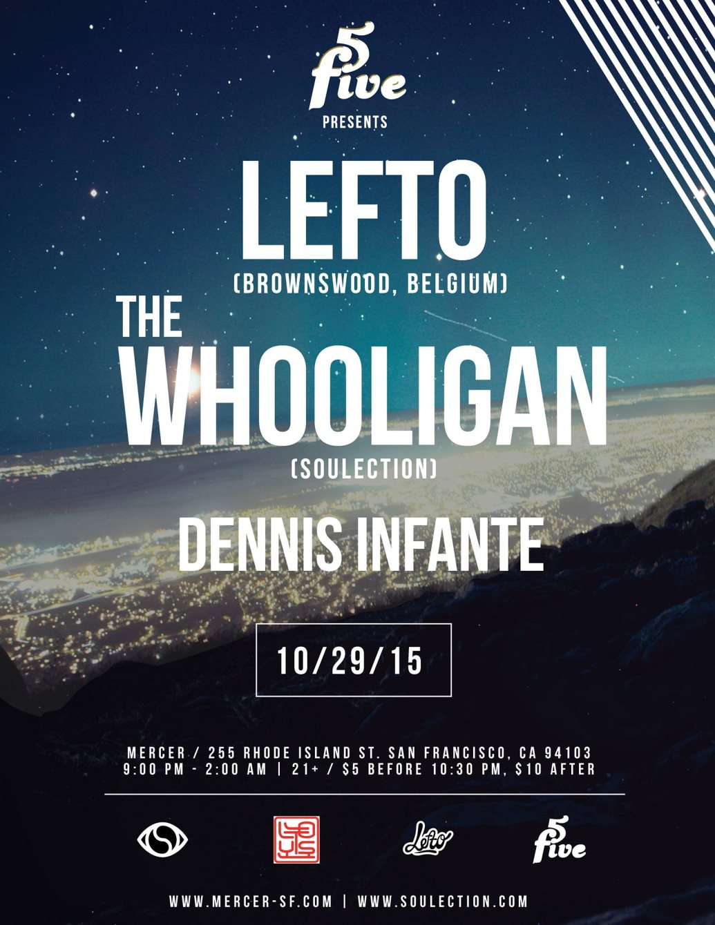 5five presents Lefto & The Whooligan - Flyer front