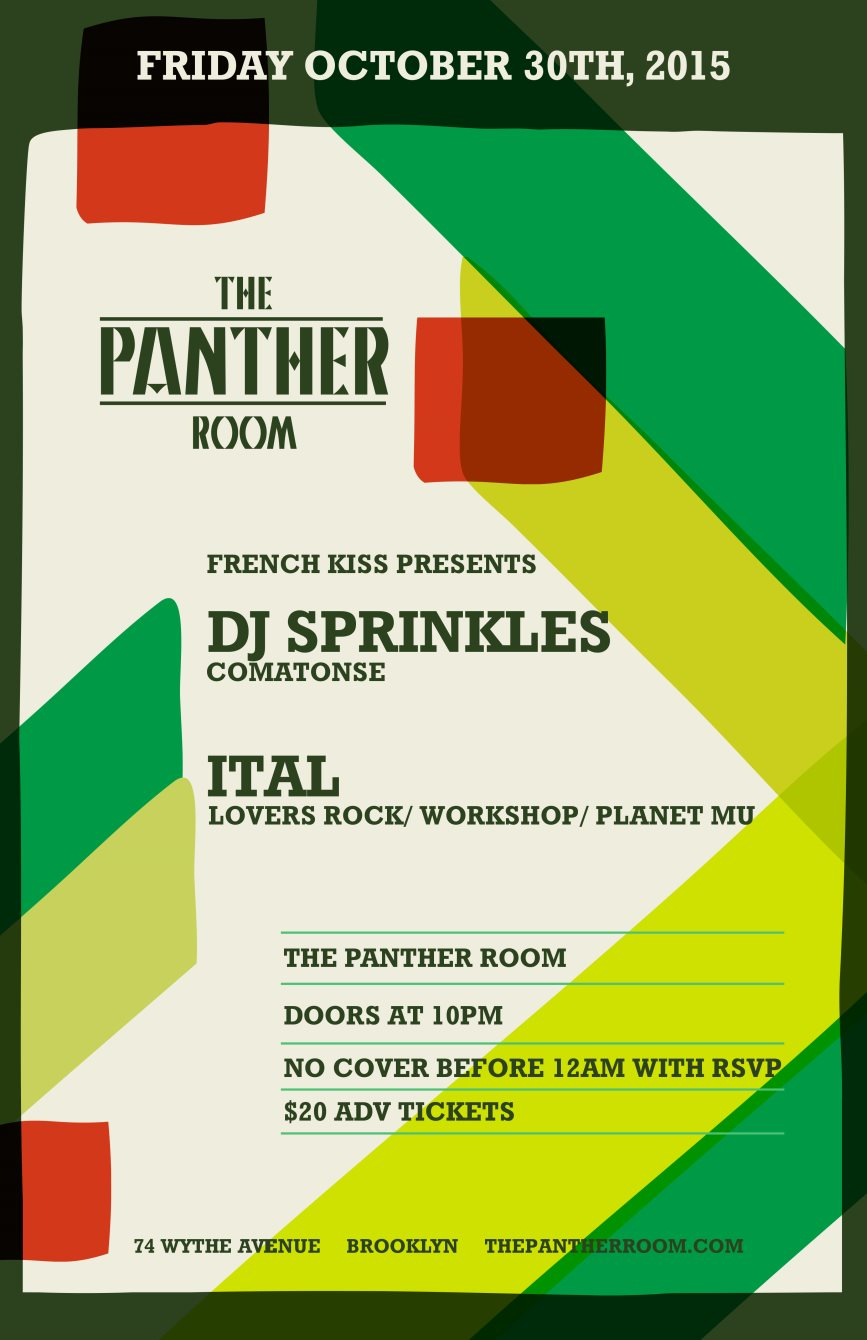 French Kiss presents - DJ Sprinkles/ Ital in The Panther Room - Flyer front